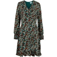 Blue Vanilla Teal Leaf Print V Neck Dress New Look