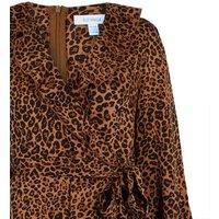 Blue Vanilla Brown Leopard Print Ruffle Wrap Dress New Look