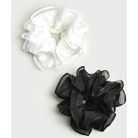 2 Pack Black and White Mesh Ruffle Scrunchies New Look