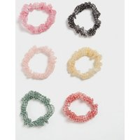 6 Pack Multicoloured Mixed Mini Check Scrunchies New Look