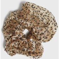 Brown Leopard Print Organza Oversized Scrunchie New Look