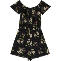 Girls Black Floral Bardot Playsuit New Look