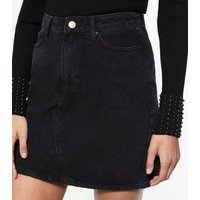 Black Denim Mom Mini Skirt New Look
