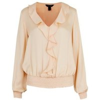 Off White Ruffle Shirred Hem Blouse New Look