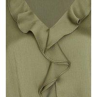 Khaki Ruffle Shirred Hem Blouse New Look