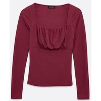 Deep Pink Ruched Square Neck Long Sleeve Top New Look
