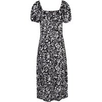 Black Floral Tie Front Puff Sleeve Midi Dress New Look