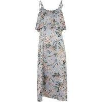 Light Grey Floral Layered Midi Dress New Look