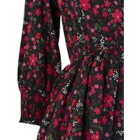 Black Floral 3/4 Sleeve Tiered Dress New Look