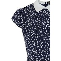 Navy Abstract Print Collared Mini Dress New Look