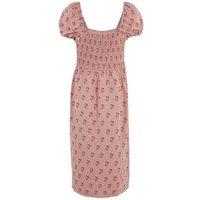 Pink Floral Puff Sleeve Midi Dress New Look