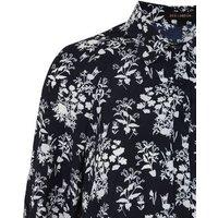 Navy Floral Dip Hem Shirt Dress New Look
