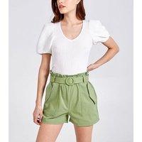 Pink Vanilla Green High Belted Waist Shorts New Look