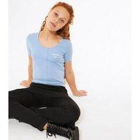 Girls Blue Ribbed Popper Slogan T-Shirt New Look