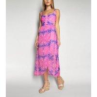 Wolf & Whistle Pink Neon Tie Dye Midi Beach Skirt New Look