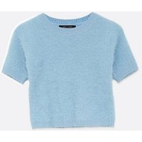 Petite Pale Blue Short Sleeve Fluffy Knit Top New Look