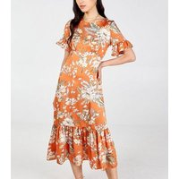 Blue Vanilla Orange Floral Frill Midi Dress New Look
