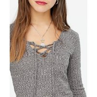 Petite Grey Ribbed Fine Knit Tie Neck Top New Look