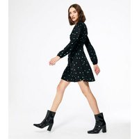 Black Spot Long Sleeve Mini Wrap Dress New Look