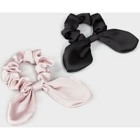 2 Pack Multicoloured Satin Bow Scrunchies New Look