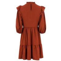 Rust Tiered Hem High Neck Smock Dress New Look