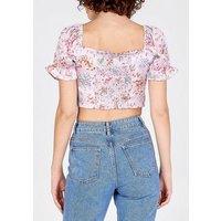 Blue Vanilla Pink Ditsy Floral Crop Top New Look