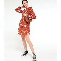 Red Floral Frill Neck Smock Dress New Look