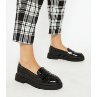 Black Faux Croc Chunky Penny Loafers New Look Vegan