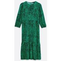 Green Leopard Print Tiered Midi Smock Dress New Look