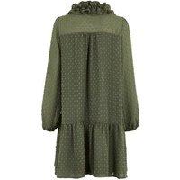 Khaki Spot Chiffon Frill Smock Dress New Look