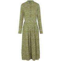 Green Spot Long Sleeve Midi Shirt Dress New Look