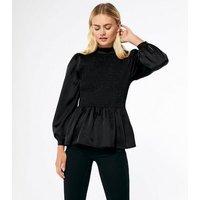 Black Satin Frill Neck Shirred Peplum Blouse New Look