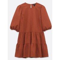 Rust Puff Sleeve Tiered Smock Dress New Look