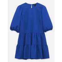 Blue Puff Sleeve Tiered Smock Dress New Look