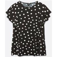 Curves Black Spot Flutter Sleeve T-Shirt New Look