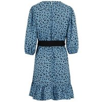 Pale Blue Floral Belted Mini Dress New Look
