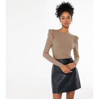 Camel Fine Knit Frill Trim Top New Look