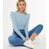 Pale Blue Fine Knit Frill Trim Top New Look