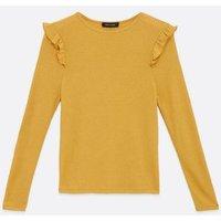 Mustard Fine Knit Frill Trim Top New Look