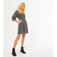 Black Ditsy Floral Shirred Mini Smock Dress New Look