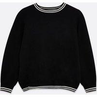Petite Black Stripe Trim Fine Knit Jumper New Look