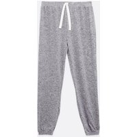 Pale Grey Heart Diamante Lounge Joggers New Look