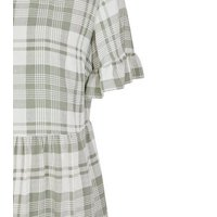 Petite White Check Frill Sleeve Smock Dress New Look