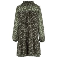Green Floral Chiffon Frill Smock Dress New Look