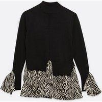Petite Black Fine Knit 2 in 1 Zebra Print Top New Look