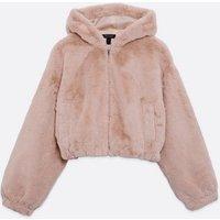Pale Pink Faux Fur Zip Front Hoodie New Look