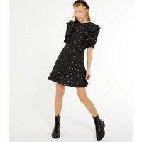 Petite Black Spot Ruffle Trim Puff Sleeve Dress New Look