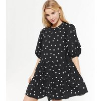 Petite Black Spot Puff Sleeve Smock Dress New Look