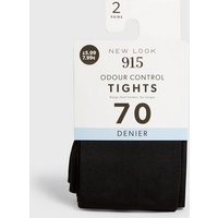 Girls 2 Pack Black Odour Control 70 Denier Tights New Look