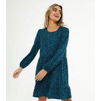 Petite Teal Spot Soft Touch Smock Dress New Look